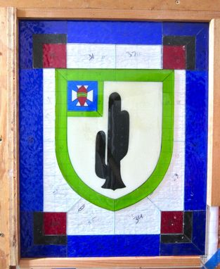 Custom Made Fused Glass And Stained Glass Panel - Army Change Of Command