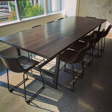 Custom Made Contemporary Industrial Reclaimed Hardwood And Steel Conference Table