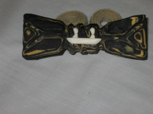 Custom Made Bow Tie - Canoers In Wood & Ivory