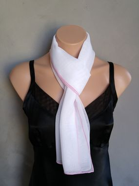 Custom Made White Chiffon Scarf With Pink Edging