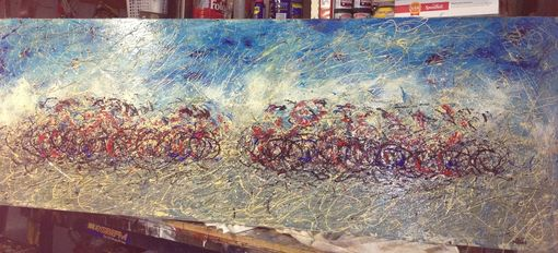 Custom Made Painting Mixed Peloton On Door