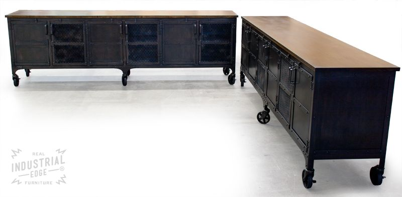 hand crafted custom 9' industrial rolling media cabinet, modern