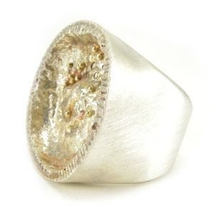 Custom Made Reticulated Silver Disk Ring With Gold Beads