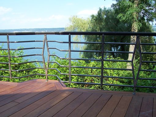Custom Made Redwood Deck Railings, Lake House