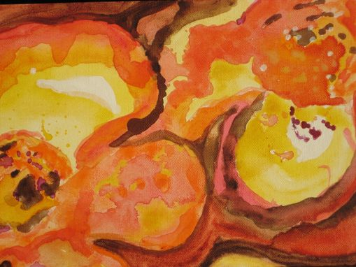 "Custom Made Flower Painting Original Abstract Fall Colors -8""X24"" Orange Yellow Brown Organic Flowers"