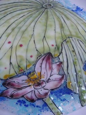 Custom Made Leafy Lotus - Glass Fusing Artwork
