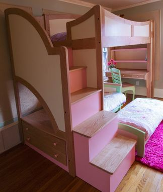 Custom Made Girl's Twin Loft  / Bunk Bed With Stairs, Futon And Desk