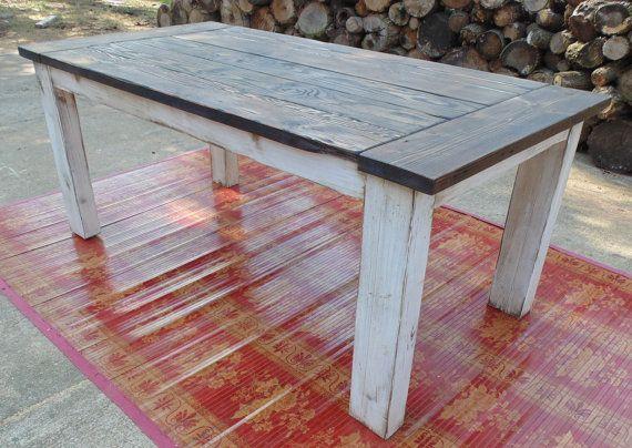 custom reclaimed wood chunky leg parsons style farmhouse. Black Bedroom Furniture Sets. Home Design Ideas