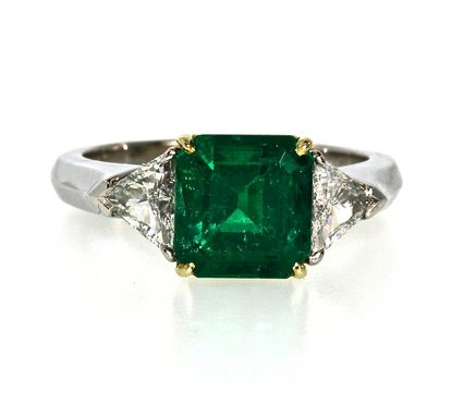 Custom Made Emerald & Diamond Dinner Ring In Platinum