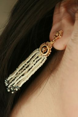 Custom Made Stunning Seed Pearl & Diamond Victorian Tassel Earrings