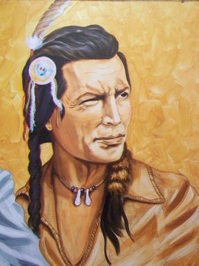 Custom Made Acrylic On Board Portrait For A Mural: Indians 4