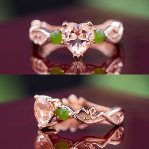 The lines of this design incorporate subtle script lettering for a personal touch, and we're in love with the unusual pairing of green jade with the salmon pink of the heart cut morganite center stone.