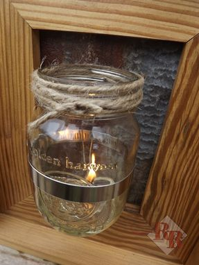 Custom Made Rustic Mason Jar Sconce / Olive Oil Lamp