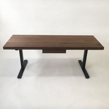 Custom Made Modern Adjustable Standing Desk - Walnut Electric Adjustable Standing Desk With Drawer