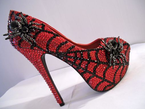 Custom Made Rhinestone Open Toe Spider Heels (Charlotte's Web)
