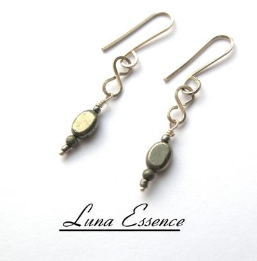 Custom Made Sterling Silver Figure Eight Pyrite Gray Earrings