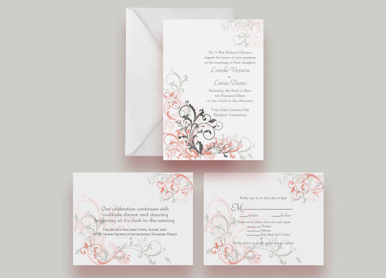 Hand Made Elegant Flourish Wedding Invitation Suite -- Invite ...