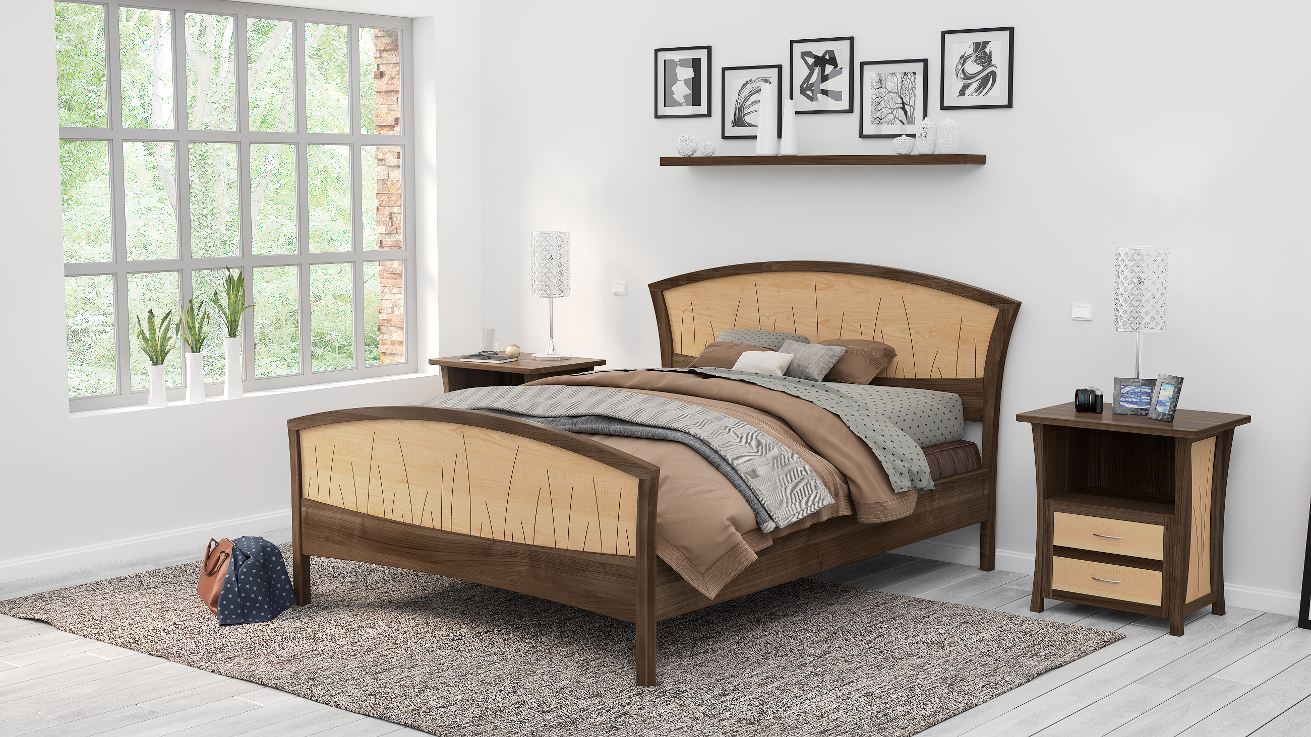 Custom Modern Bed Frame Walnut Headboard Wood Bed King Size Bed Queen Art Deco By Nathan