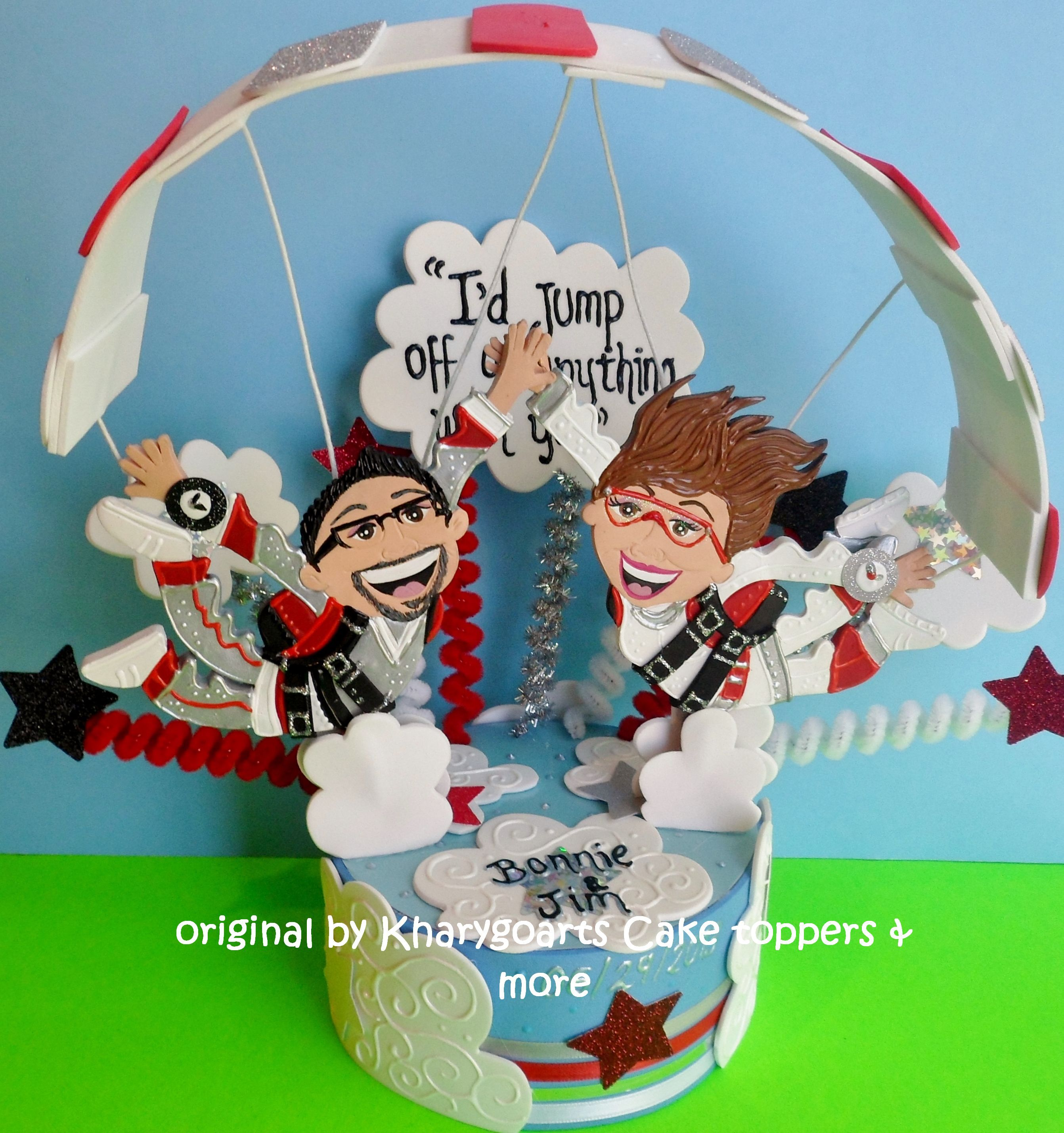 Custom Made Skydiving Wedding Cake Topper Engagement