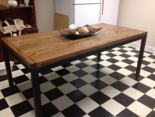 Custom Made Slat Table With Steel Base