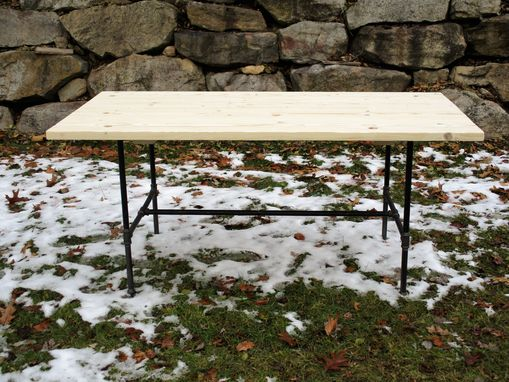 Custom Made Rustic Industrial Black Pipe Farm House Farmhouse Dining Table
