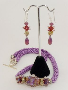 Custom Made Set - Violet Luster Kumihimo Necklace And Matching Earrings