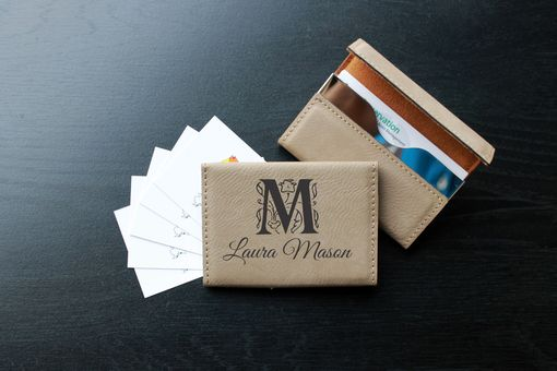 Custom Made Custom Business Card Holder --Bch-Lb-Laura Mason