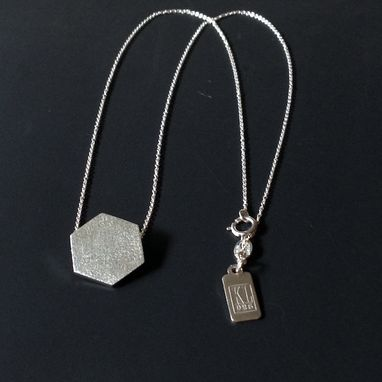 Custom Made Charm Pendant, Charm Necklace - Hexagon Silver Necklace