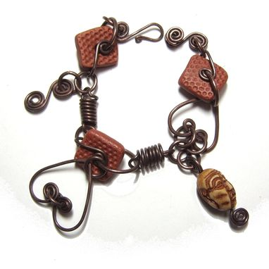 Custom Made Double Heart Copper Wire And Clay Bracelet