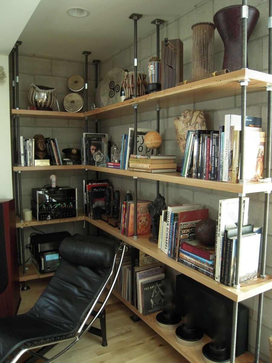 Custom Made Built In Metal And Reclaimed Wood Bookcase