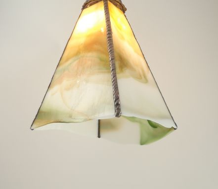 Custom Made Glass Pendant Light Copper Green White Handmade