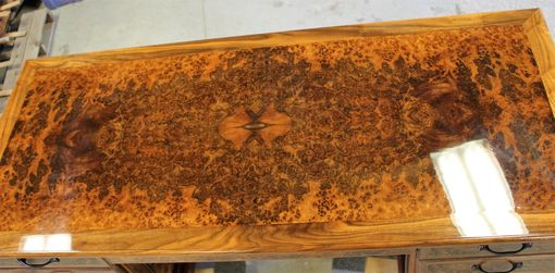 Custom Made Walnut Burl Executive Desk