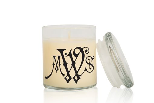 Custom Made Monogram Candle | Font: Carmencita | Large Creme Brulee/Vanilla Scented Candle