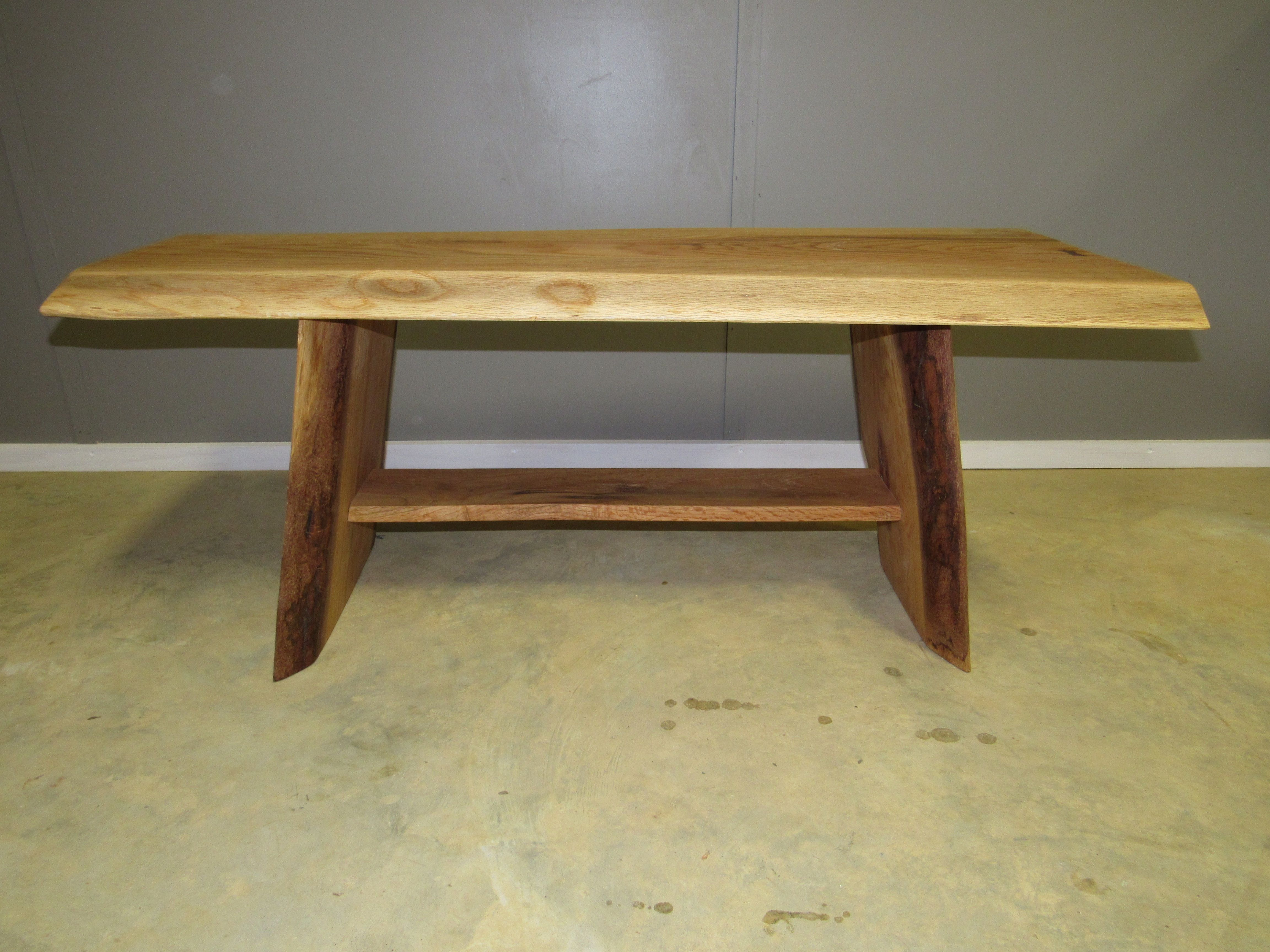 Custom Made Live Edge Red Oak Slab Coffee Table With Walnut Erfly Inlay