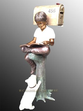 Custom Made Boy W/ Dog Mailbox, Bronze Statue