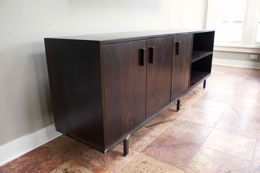 Custom Made Solid American Walnut And Steel Credenza