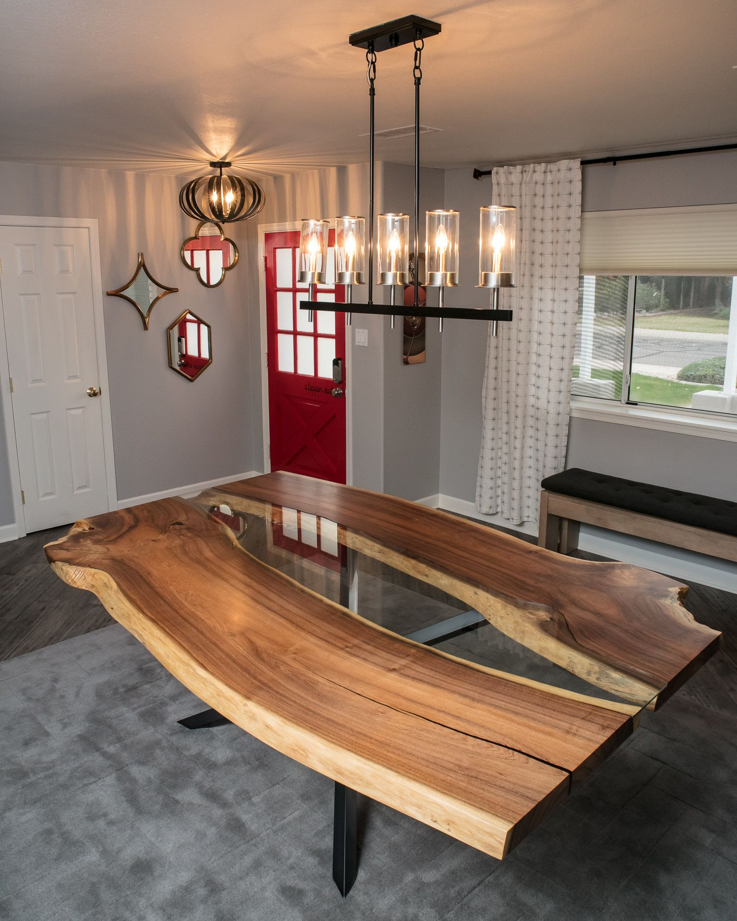 Custom Made Live Edge Dining Table, Bookmatched Mesquite W