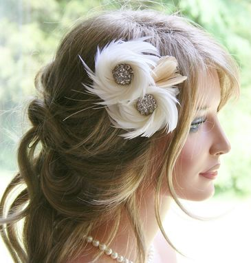 Custom Made Ivory Feather Fascinator Wedding Headpiece