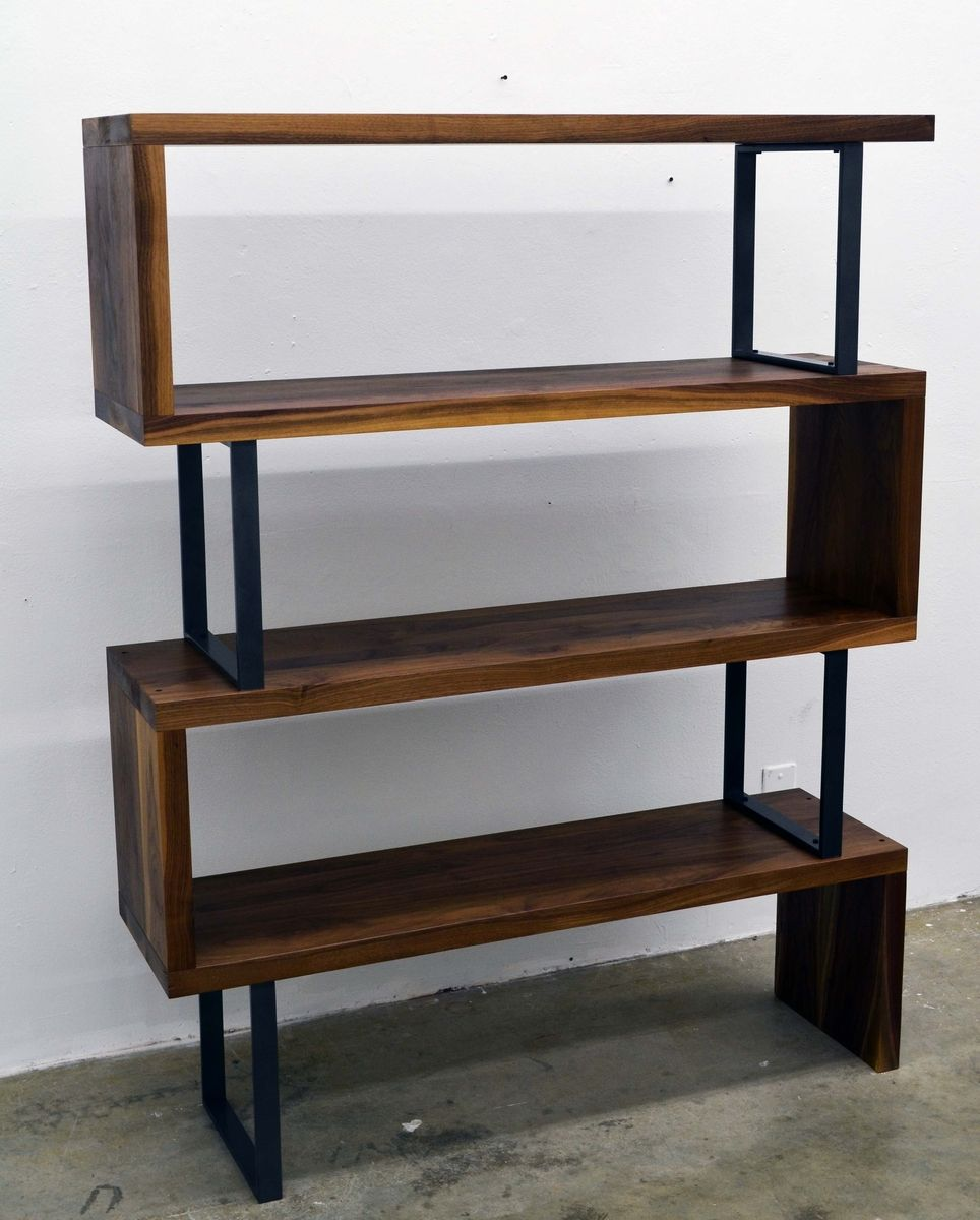 custom made walnut wood and steel ribbon bookshelf by fabitecture. Black Bedroom Furniture Sets. Home Design Ideas