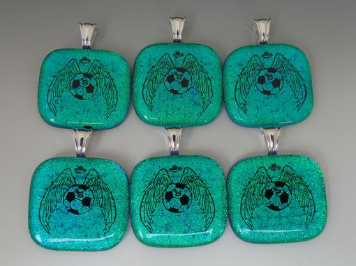 Custom Made Laser Etched Wings Soccer Ball Dichroic Fused Glass Pendants