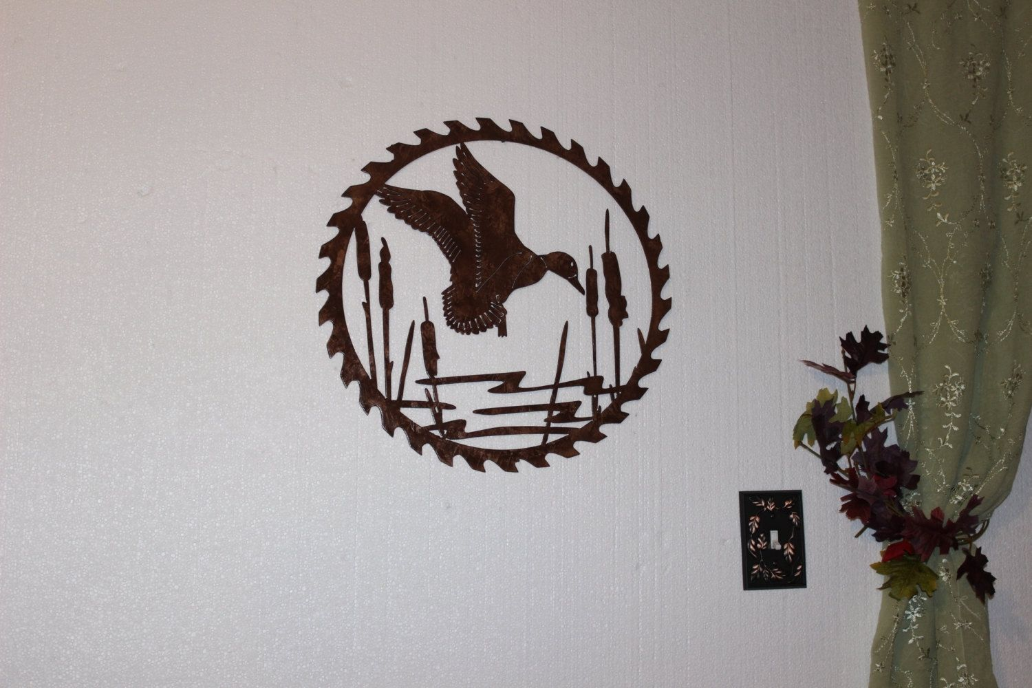 Hand Made Duck In Reeds On Sawblade Metal Wall Art Country