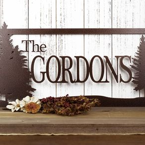 Custom Family Name Metal Sign Pine Trees Outdoor 20 X 10