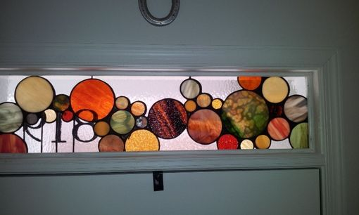 "Custom Made Stained Glass Transom -  ""Earth Tones Bubbles"" (Tw-29)"