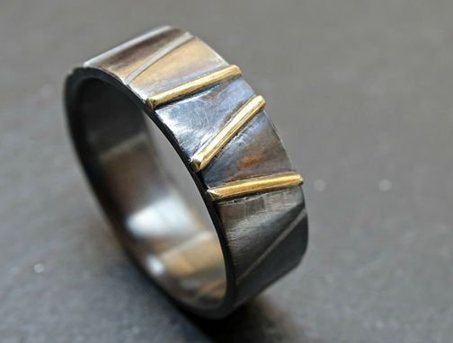 Custom Made Black Silver Gold Wedding Ring, Viking Wedding Band For Men And Women