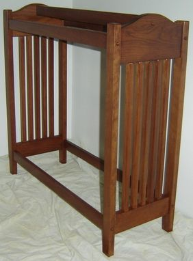 Custom Made New Solid Cherry Wood Mission Style Quilt Rack Stand | Blanket Stand