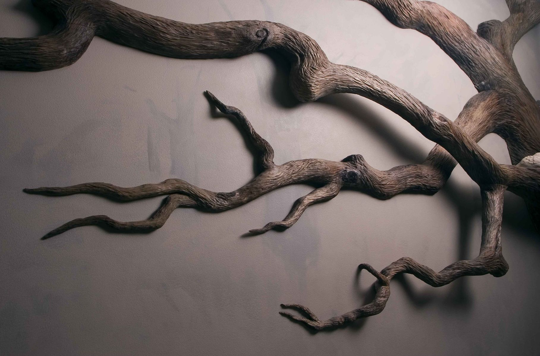 Custom Made Carved Wall Art Sculpture By Chrysalis Woodworks Black Bird Tree Branch