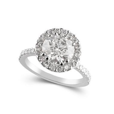 Custom Made Platinum Halo Style Diamond Engagement Ring