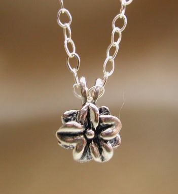 Custom Made Wild Berry Flower Sterling Silver Solitaire Necklace