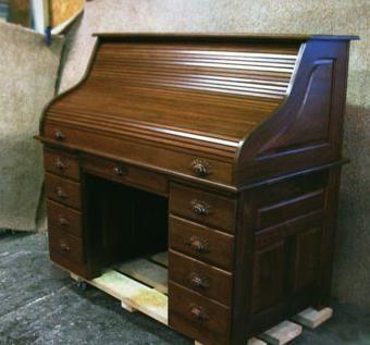 Handmade Amish Walnut Computer Roll Top Desk By Tom Kies