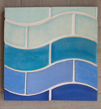 "Custom Made Wave Tile 4"" X 8"" Stoneware"